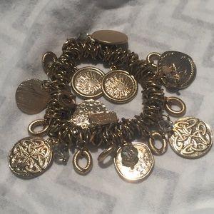 Bracelet Coin Disc Rings Celtic Knot Sun Stretchy